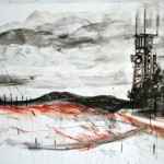 Landscape with Mobile mast, charcoal, chalk, ink, conte crayon on gessoed paper, 243 x121cm, 2011