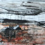 Landscape with downed plane, charcoal, chalk, ink, conte crayon on gessoed paper, 243 x121cm,2011