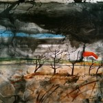 Landscape with windsock, oil on canvas, 243 x121cm, 2011-13