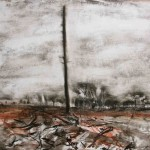 Spire, charcoal, chalk, ink, conte crayon on gessoed paper, 120x90cm, 2011.