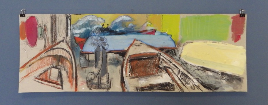 Boatbuilders chalk and gouache study