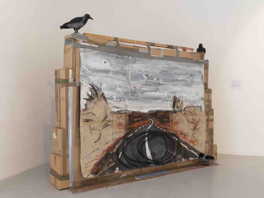 Landscape with Doughnutting Tyremarks, plein air drawing with cardboard and plywood assemblage, with plastic crows. Leitrim Sculpture Centre, Jan 2017
