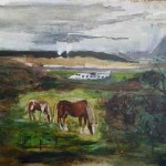Landscape with ponies and downed plane lo